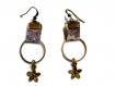 Boucles d'oreilles bronze et tissu liberty