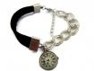 Bracelet assymetrique /bracelet cuir et chaine