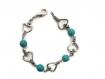 Bracelet coeurs et perles turquoises