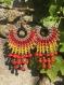 Bijoux macramé, boucles d'oreilles, arc-en-ciel, fil ciré, graines naturelles et tropicales.