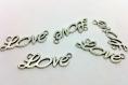 X1 breloque / connecteur - love message amour  - en metal argenté