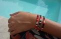 Bracelet miyuki tila rouge noir beige nautilus