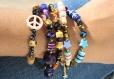 Bracelet tendance skull violet bleu doré