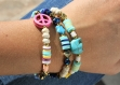 Bracelet tendance etoile heishi bleu doré