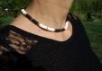 Collier perles heishi chaîne origami dans le dos
