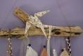Suspension bois flotté bohème origami beige