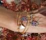 Bracelet jonc doré à l'or fin avec breloques tête de mort, buffle, cactus, cornes de buffle rock