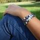 Bracelet miyuki tila noir et argenté black pearl