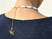 Collier perles heishi blanc/doré/bleu ou vert  avec chaîne origami grue dans le dos