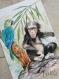 Jungle - affiche a4 - singe et perroquet