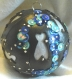 Magnifique boule de noël fait main cigales noir bleu argent cuir véritable 7 cm idée cadeau made in france
