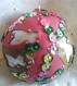 Magnifique boule de noël fait main cigales argent rose vert cuir véritable 7 cm idée cadeau made in france