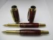 Parure stylo plume et roller en résine feu