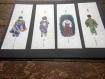 Lot de 4 marque-pages de femmes japonaises (peinture aquarelle)