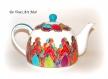 Théière porcelaine peinte colorée,théière originale artisanale