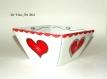 Saladier original cœur noël,plat haut carré porcelaine,fait main,vaisselle rouge blanc noël,artisanal
