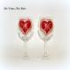 Verre à vin de noël,fait main,verre à vin cœur,duo de grands verres,peint à la main,doré rouge,verre artisanal noël