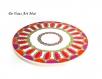 Plat de présentation sur pied,porcelaine peinte main,plateau étage coloré original,artisanal