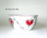 Bol déjeuner thème cœur,bol porcelaine coloré original,peint main artisanal