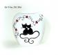Vase porcelaine couple chat,fait main,décoration illustration chat noir,artisanal