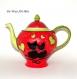 Théière porcelaine illustration chat,fait main,dessin couple de chat,théière colorée peinte main,artisanale