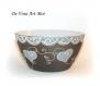 Bol déjeuner artisanal porcelaine,peint à la main,bol femme motif coeur