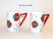 Mug tasse porcelaine colorée,fait main,duo tasse porcelaine,peint main artisanal
