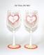 Verre de noël coeur,duo de grands verres à vin,peint main artisanal