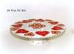 Plateau rond sur pied noël,serviteur vaisselle de noël,porcelaine peinte main,artisanale