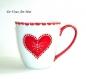 Tasse mug porcelaine rouge,fait main,tasse de noël,mug jumbo motif cœur,peint main artisanal