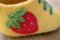 Chaussons bottines fraise bébé 6-12 mois feutrés laine mérinos n 26