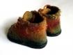 Chaussons bottines hobbit bébé 6-12 mois feutrés laine mérinos n32