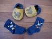 Chaussons - chaussons chaussettes souples motricité en coton avec une semelle cuir anti-dérapant pour bébé enfant, chaussons de naissance