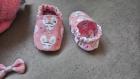 Chaussons + bandeau - chaussettes souples en coton avec une semelle cuir anti-dérapant motricité pour bébé enfant, bandeau noeud, naissance