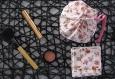 Sac - pochon maquillage femme fête des mères cadeau noel anniversaire- coton démaquillant lavable, nécessaire coiffure - filet