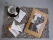 Kit couture 6 sous-verres simili/tissu enduit anti dérapant prêt à coudre diy - sous tasse thé, café, choco - cadeau noël anniv femme déco