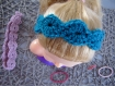 Bandeau headband fleur pailleté réalisé au crochet pour maintenir cheveux - cadeau femme fille bébé mère anniversaire noel fetes