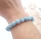 Bracelet perles pierres naturelles aigue marine 8mm fait main artisanal france