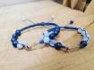 Bracelets duo amoureux ancre marine calcédoine et lapis lazuli