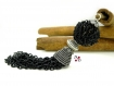 Pompon long noir, pompon chaîne, pompon en métal, pendentif pompon cuivre, pompon pampille, grand pompon, pompon métal, pompon bicolore,