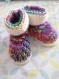 Chaussons layette lutin 3-6 mois multicolore tricotés main