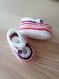 Lot bonnet / chaussons bébé tricot blanc / rose / violet 3 mois - fait main
