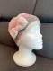 Bonnet fille (messy bun hat) crocheté rose gris écru