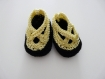 Chaussons layette tricot jaune (3 mois)