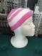Bonnet tricoté layette rayé blanc/rose (taille 3 mois)