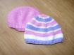 Bonnet tricoté layette rayé blanc/rose/violet (taille 3 mois)