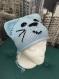 Bonnet tricoté layette rayé bleu chat (taille 3 mois)