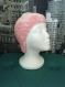 Bonnet tricoté layette rose à oreilles (taille 3 mois)