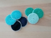 Lot cotons lavables au crochet vert / bleu - zero dechet (fait main)