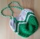 Sac crochet trapilho vert et blanc (crocheté a la main)